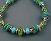 Peridot and Turquoise Bracelet, Natural Peridot and Real Arizona Turquoise with Sterling Silver Beads and Spacers. Chunky Gemstone Bracelet