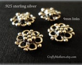 Use TAKE10 for 10% off! SET of 4 Bali Sterling Silver Ornate Flower Links, 9mm, artisan-made supplies, bridal accessories