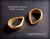 TWO Bali 24kt Gold Vermeil Simple Pendant Bails, 8mm x 11mm, artisan-made supplies, necklace, pendant, beads, gems, supplies