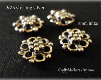 SET of 4 Bali Sterling Silver Ornate Flower Links, 9mm, artisan-made supplies, bridal accessories