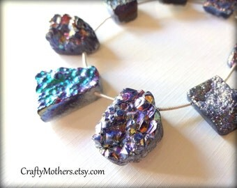 Use TAKE10 for 10% off! RAINBOW Titanium Druzy Agate Slab Beads, asst. sizes, iridescent, earrings, focal, pendant, unique