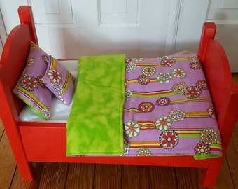 Doll Bedding Set, Toys & Games, 3 Pc Bedding Set, Comforter,  18 in Doll Bedding, Doll Beds, Flannel Bedding, Bed Linens, Lavender, Lime