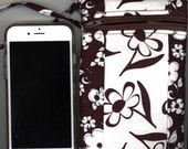Cell Phone Bag - Quilted Cotton, Long Strap, Brown, White Floral -  Fits iphone