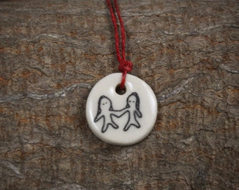 handmade ceramic zodiac pendant: Gemini (May 22-June 21) by kata golda