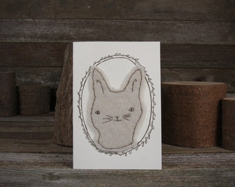 hand-stitched wool felt letterpress card: rabbit by kata golda