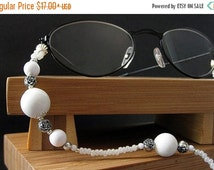 BACK to SCHOOL SALE White Eyeglass Holder. Classic White Badge Lanyard. Silver Roses Badge Holder. White Glasses Necklace. Beaded Lanyard. W