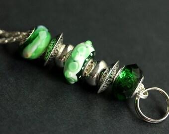 Green Lanyard. Badge Lanyard. Id Lanyard. Emerald Green Beaded Lanyard. Badge Holder. Badge Necklace. Lampwork Glass Teacher Lanyard.