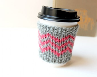 Knit Coffee Cozy, Chevron Cup Sleeve, Pink Cup Cozy, Trendy Gift, Wool Coffee Sleeve, Reusable Cup Cozy, Coffee Lover Gift, Pink and Grey