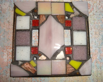 MOSAIC LIGHT SWITCH Plate Cover - Double, Earth Tones, iridescent
