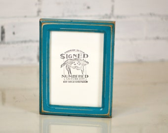 5x7 Picture Frame in Double Cove Style with Vintage Turquoise Finish - Can Be Any Color - 5x7 Photo Frame - Wooden Frame Rustic 5 x 7