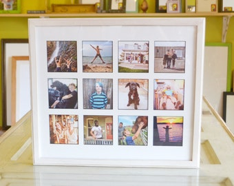 "Collage Frame 19.25 x 16.5"" 1x1 Outside Cove Style with Mat Windows for (12) 4x4 Photos in Vintage White Finish - Same Day Shipping"