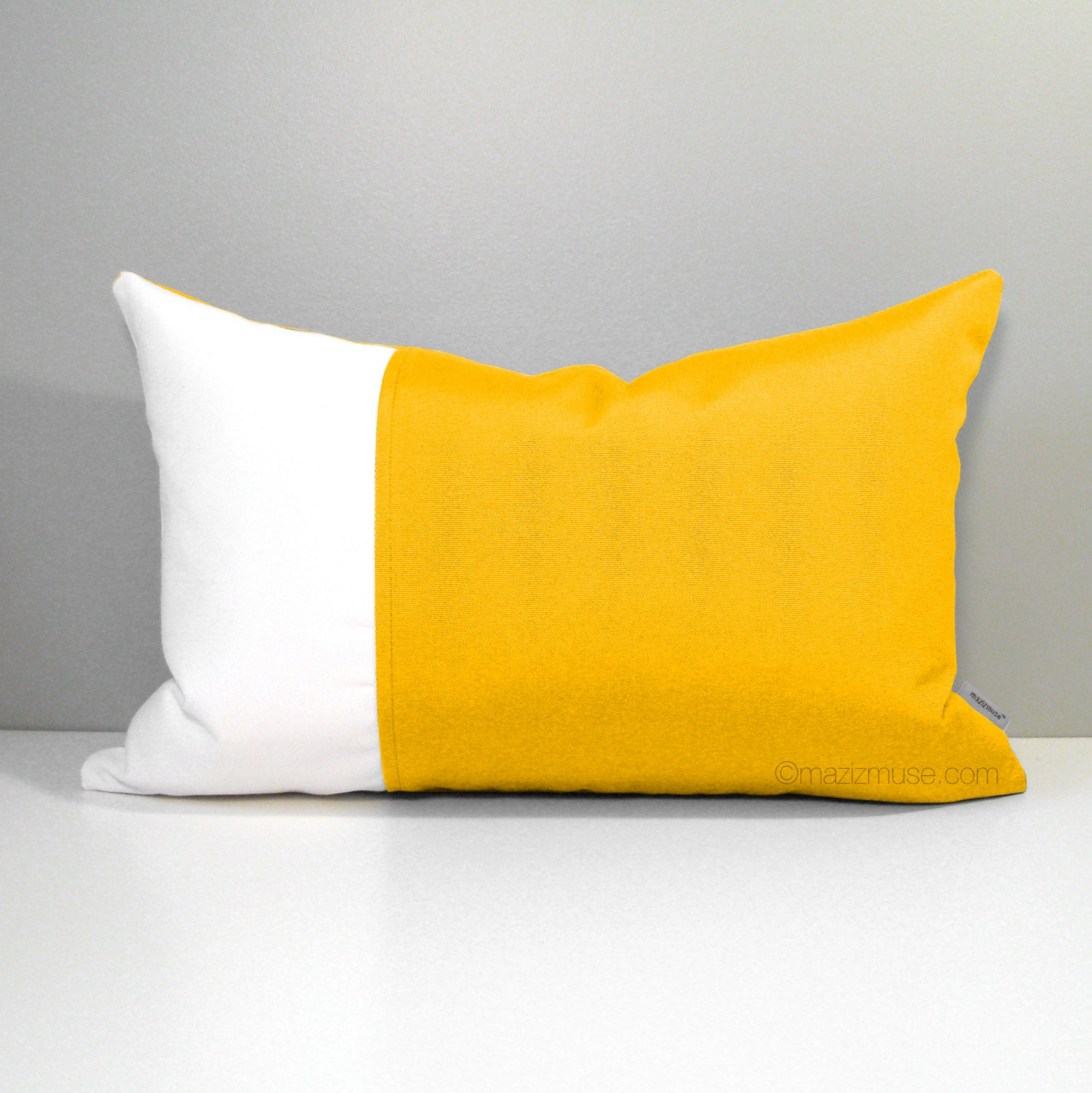 Throw Pillow Covers Yellow : Decorative Yellow Outdoor Pillow Cover White & Lemon Yellow