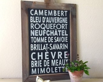Rustic Farmhouse French Cheeses Framed Chalkboard Sign
