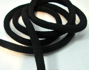Braided silk cord, 8mm bookbinding rope, black (1m)
