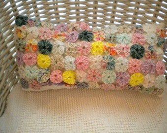 Scrumptious Pink Pastels YoYo/Rosette Pillow-Vintage Fabrics, Martha Washington Chenille-Shabby Chic, Cottage Style, One of a Kind For You