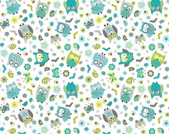 Whooo Loves You Northcott Tossed Owls Owl Butterfly Bugs Fabric Blue Green