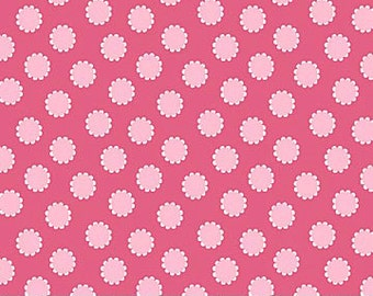 Whooo Loves You Northcott Daisy Dot Polka Dots Flowers Bright Hot Pink Fabric