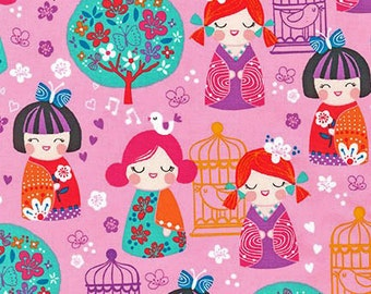 Cherry Blossom Garden Fabric Girls and Dolls With Birds Cages and Trees Spring Pink