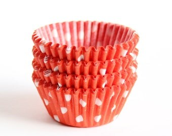 100 MINI Orange Polka Dot Cupcake Liners