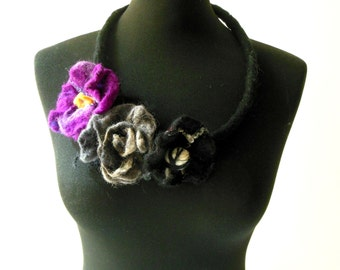 felt art flowers necklace, statement necklace, bib necklace, eco friendly