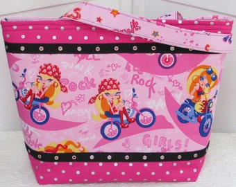 Hot Pink Punk Rock Biker Girls Large Tote Bag Pink and Black Rocker Girl Large Purse Ready to Ship