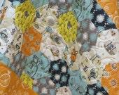 Modern Baby Quilt-Organic Rustic Baby Boy Bedding-Birch Fabric-Hexagon-Orange-Blue-Woodland-Animal-Raccoon-Fox Baby Blanket
