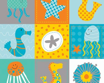 Baby Sheets-Crib Sheet-Fitted Nautical Gender Neutral-In the Sea Ocean Friends-Seahorse-Starfish-Gray-Turquoise-Orange-Mini Crib-Diaper Pad