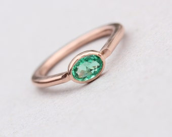 Modern 14K Rose Gold Emerald Engagement Ring Simple Green Brazilian Gemstone Oval Drop Shank Minimalistic Low Profile Setting - Beryl Sea