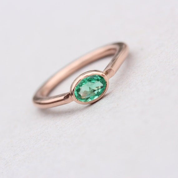 Modern 14K Rose Gold Emerald Engagement Ring Simple Green