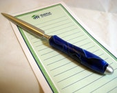 Snail Mail Letter Opener Brushed satin Handcrafted Blue Acrylic Handle Office Desk