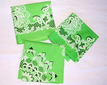 3 Vintage Green Cotton Bandannas • bandana made in U.S.A. • Fast Color