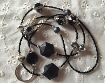 Beautiful Black and Silver Beaded Lanyard ID Badge Holder Free US Shipping