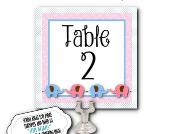 Table Number Cards, Food Labeling Cards, Table Signs, Baby Gender Reveal Party, Baby Shower, Pink & Blue Baby Elephants