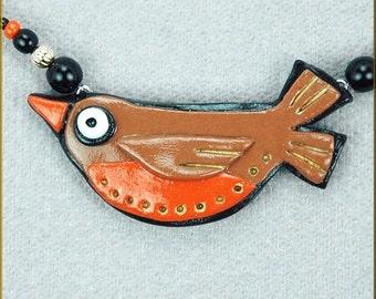 Hand Sculpted Folk Art Robin Bird Necklace by Kristy Zgoda