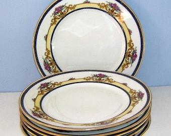 6 Antique Limoges France Dessert Plates, J.B (Jean Boyer) Porcelain Plates, French Manufacturer, Cottage Decor, French Farm House, Wedding