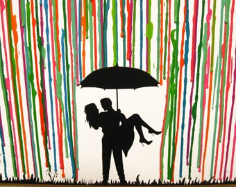 Canvas Painting Crayon, Melted Crayon Art, Unique Wedding Gift, Silhouette Art, Wedding Gifts Personalized, Couple Art, Rain Art 16x20