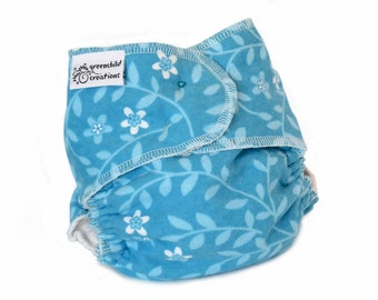 Fitted Cloth Diaper, OS, Flannel - Blue vines