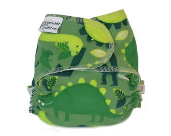 Cloth Diaper Fitted, One Size, Dinosaurs, Flannel - Add Snaps, Hook and Loop, or Pins