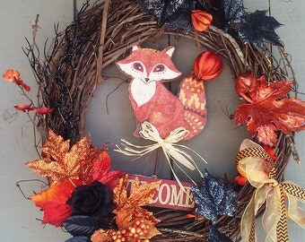 "Fall Fox Wreath - 18"" Outdoor Halloween Decor Grapevine Wreaths Black Orange Foliage"