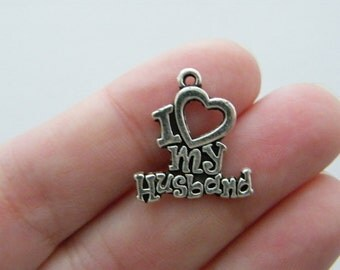8 I love my husband charms antique silver tone M133
