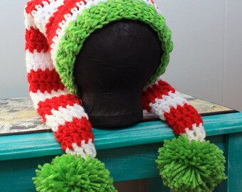 Christmas Stocking Holiday Beanie All Sizes Adult to Newborn, Crochet Hat
