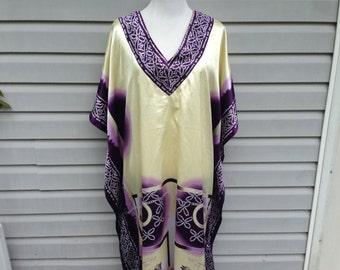 Vintage Purple Cream Caftan Maxi Dress