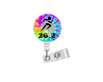 26.2 Runner Badge - Tie Dye Badge Holder - Running Badge Reel - Nursing Badge - Teacher Badge Reel - Medical Badge - Unique Badge Reel - RN