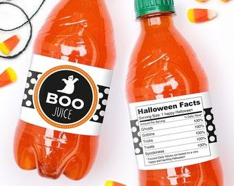 "Halloween Water Labels - ""Boo Juice"" - 100% waterproof personalized water bottle labels"