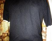 Vtg 60s Black with White trim Short Sleeve Mock Turtleneck Pin Up Girl Sweater larger size