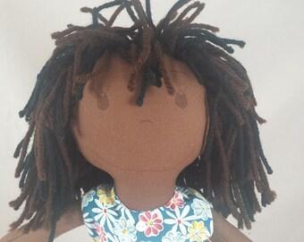 READY TO SHIP Rag doll, dark skin tone, mop of dark brown and black hair, Cloth Doll, Plush Toy, Soft Doll, Fabric Doll, Stuffed Doll