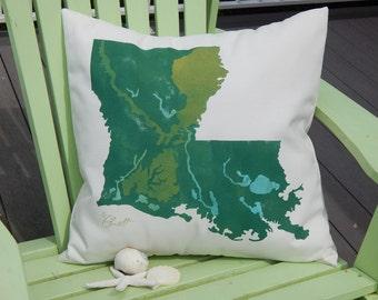 """LOUISIANA YOUR CITY state map outdoor pillow 20""""x20"""" customized indoor outdoor jazz bayou New Orleans jambalaya shrimp Crabby Chris Original"""