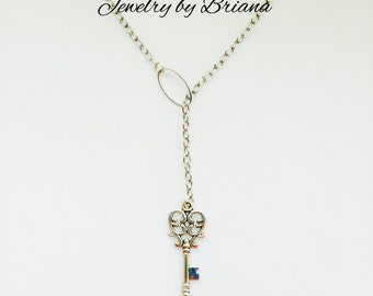 Silver Key Lariat Necklace