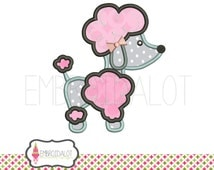 Poodle applique embroidery design. Applique poodle embroidery. 5 x 7 and 6 x 10. Great French applique