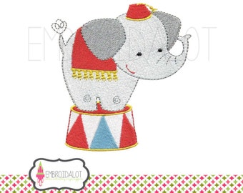 Elephant machine embroidery design. Adorable circus embroidery, two sizes filled stitch. Fun carnival embroidery. Cute elephant embroidery.